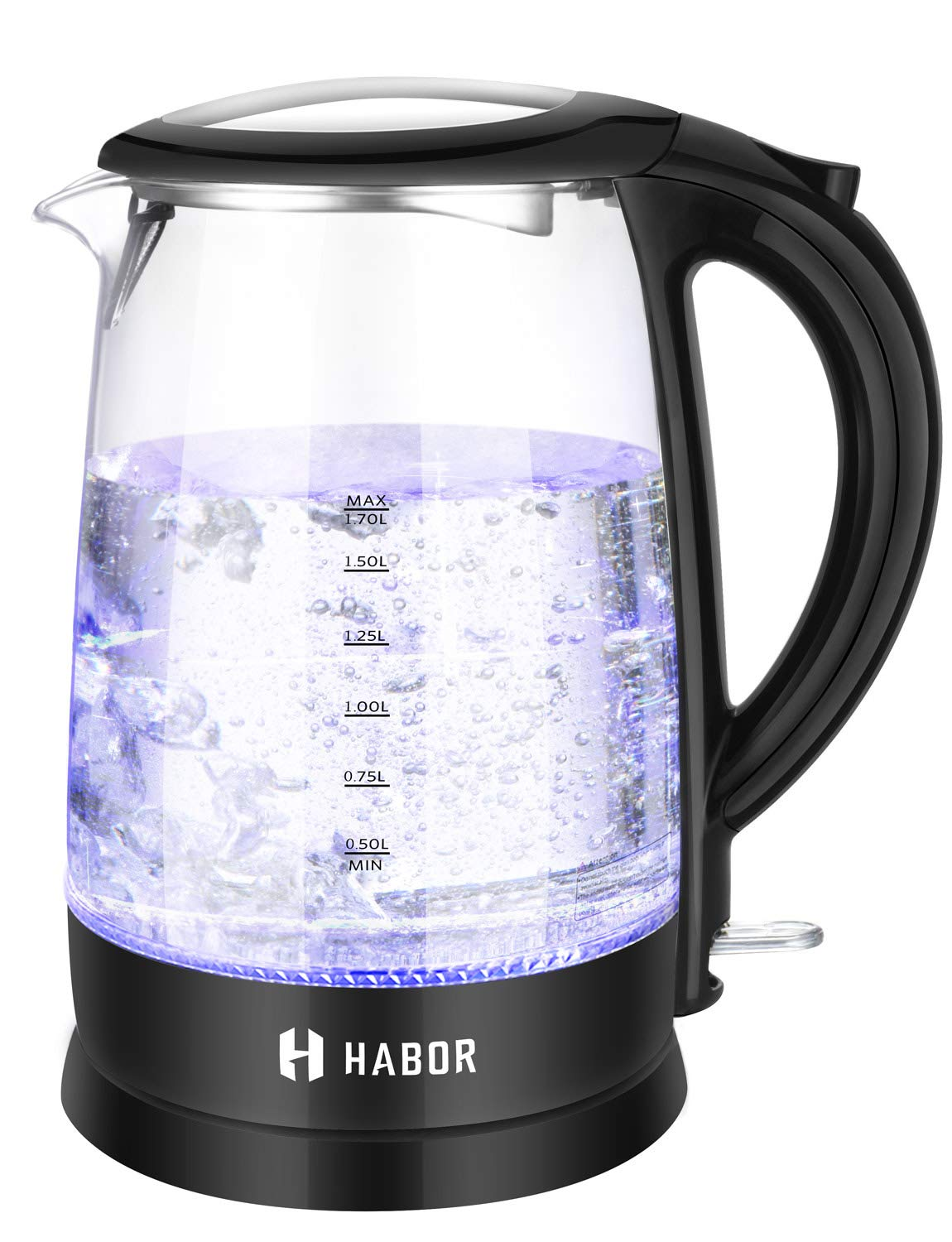 Habor 113 Electric Kettle (BPA Free), FDA Approved Water Boiler 1500W Fast Heating, 1.8 QT (1.7 L) Visible Blue Lights Bright Glass Body, Auto Shut-Off Boil-Dry Protection Stainless Steel Inner Lip