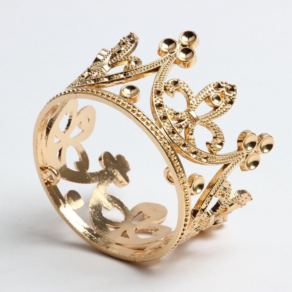 MagiDeal 2pcs Baroque Mariage Mini Fleur Filles Strass Couronne Diad/ème Chapeaux Or