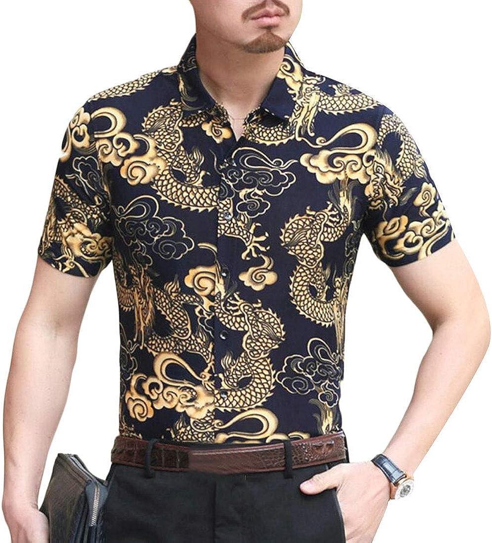 Alion Mens Hawaiian Shirt Floral Button Up Shirt Short Sleeve Slim Fit Casual Shirts