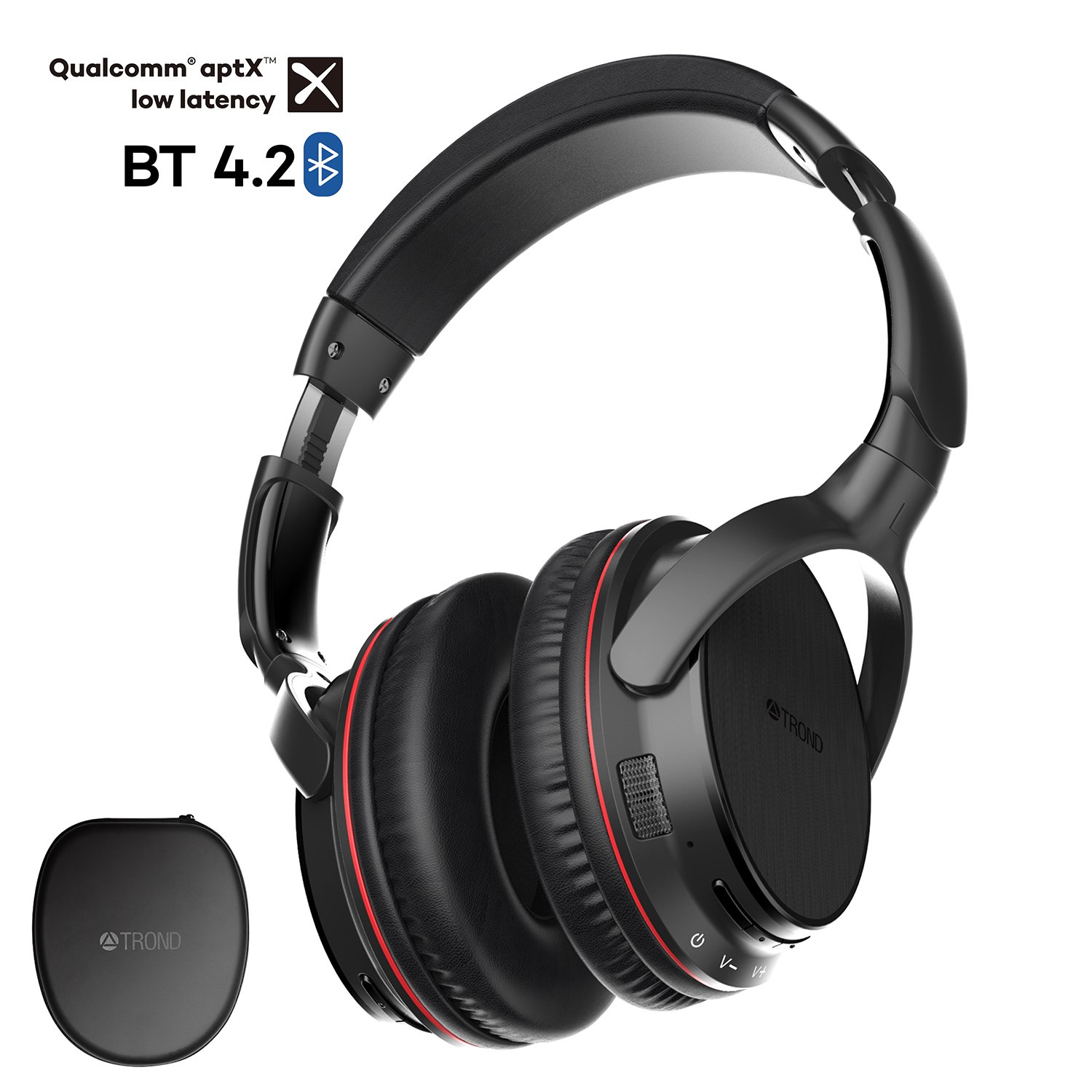 TROND Bluetooth V4 2 Headphones Wireless with Mic Over Ear, Lightweight,  30H Playtime, APTX Low Latency, LED Codec Indicator, for PC/Cell Phones/TV
