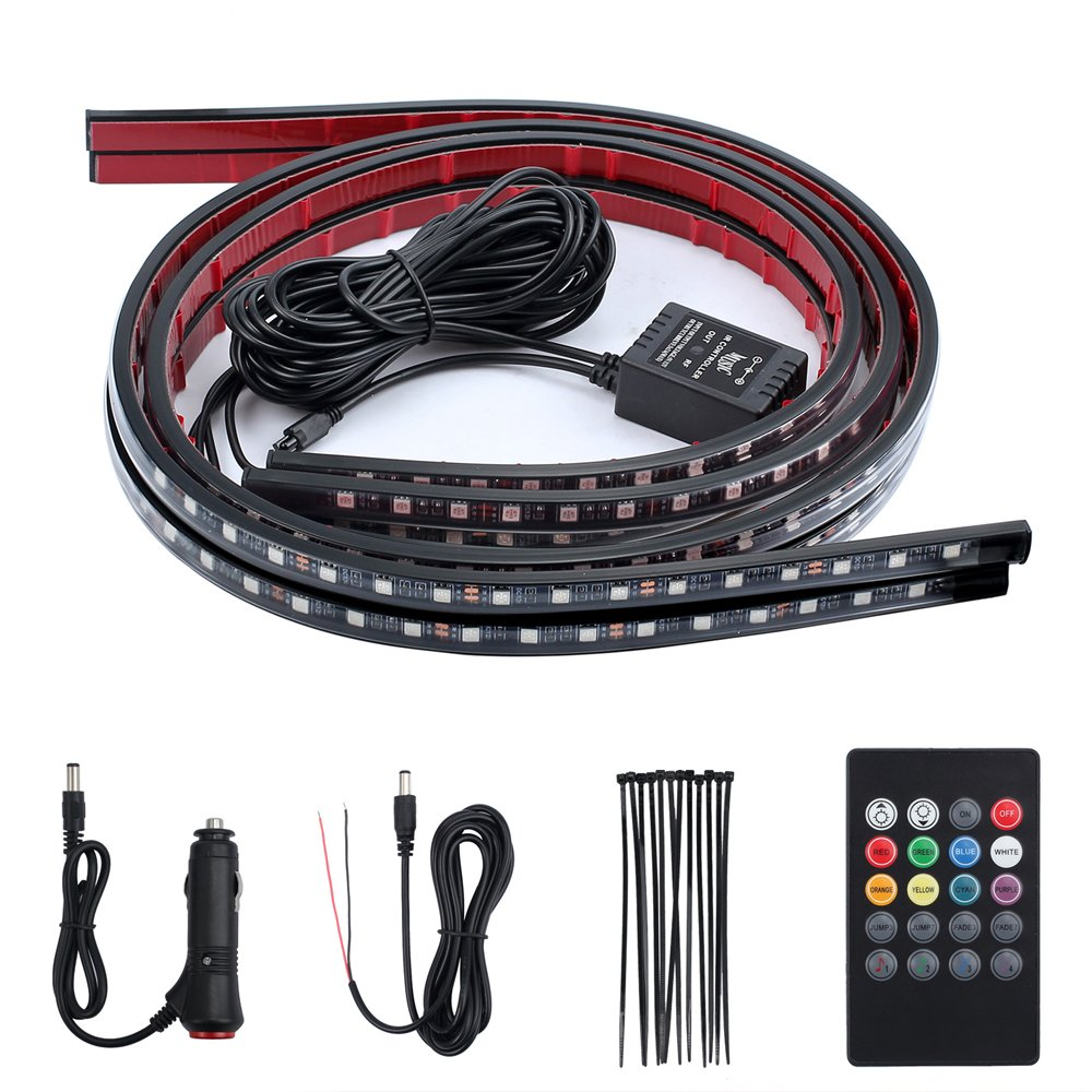 4x Under Car RGB LED Tube Strip Underglow Neon Light 8 Colors Wireless Remote