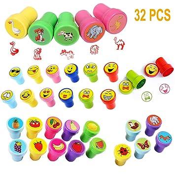 Sellos para Niños,Animal Sellos de Auto-Entintado para Niños Infantiles Emoji Animales Tinta de Stamper Conjunto de Sellos de Animales Herramientas de ...