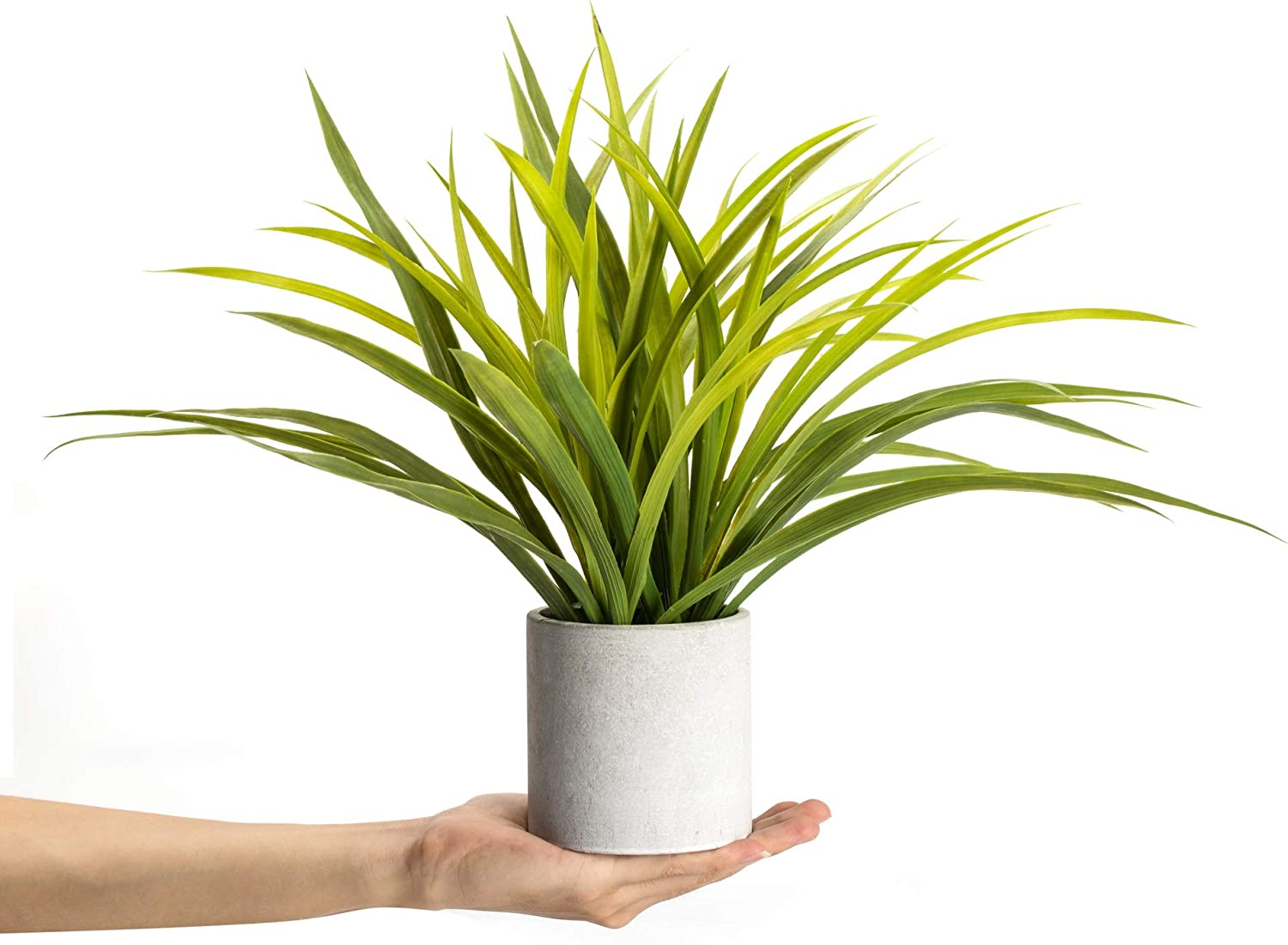 Velener Artificial Potted Long Leaf Plant with Metal Stand for Home Decor (Orchid Leaf) -