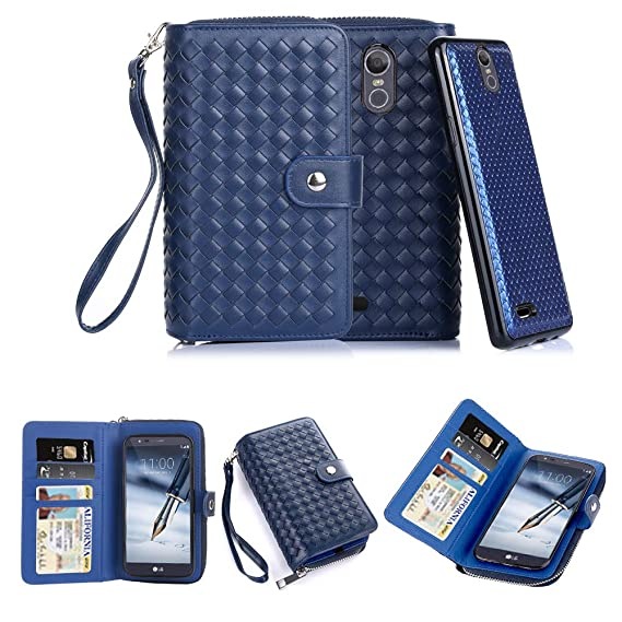 buy popular dd013 d0abe TabPow LG Stylo 3 Case,Weave Zipper Cash Slot, Card Slots, Button, Leather  Wallet Case Cover With Detachable Case For LG Stylo 3/ LG Stylo 3 Plus - ...