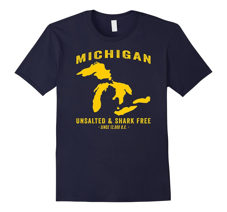 Michigan Unsalted Shark Free Retro Distressed T Shirt T