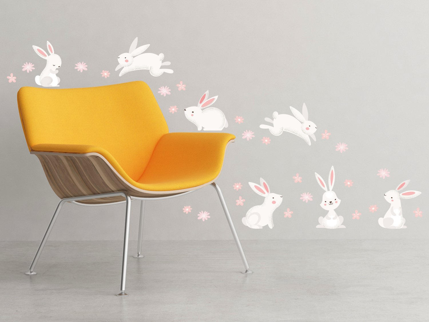 Sunny Decals Cute Bunny Rabbits and Flowers Wall Decal - Removable Fabric Wall Sticker