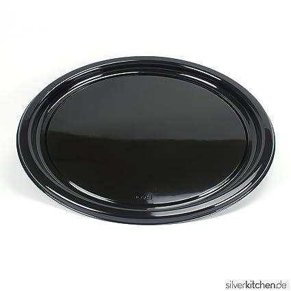 Bandeja de servir, de alta Class de plástico, desechables – Negro, redondo,
