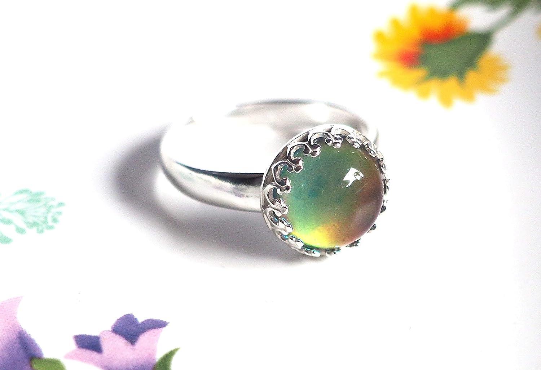 Medium Crown Adjustable Mood Ring in Sterling Silver
