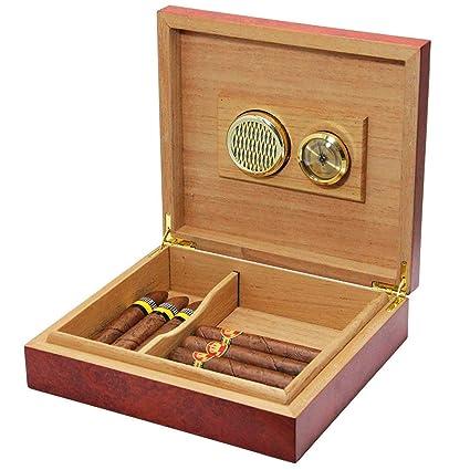 20 cuenta marrón madera de cedro forrado Humidor humidificador caso caja con higrómetro