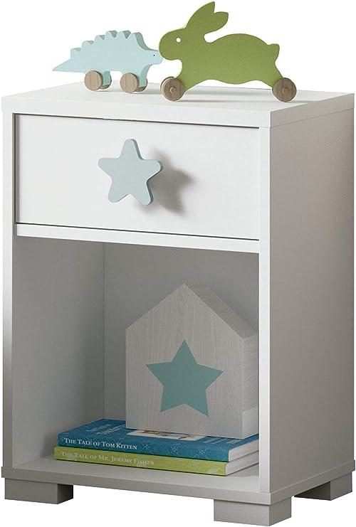 Mesita Noche Shine Blanca Dormitorio Infantil Juvenil 1 cajón ...