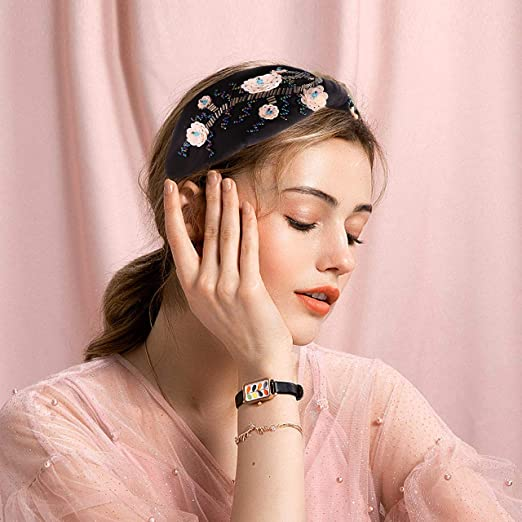 Beaded embroidered pinks 1 inch wide headband