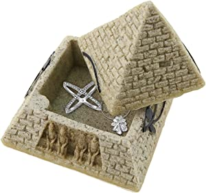Sandstone Ancient Egyptian Pyramid Eye of Horus Hinged Jewelry Box Creative Decoration Storage Container Box Figurine Statue for Home Decoration Crafts Gifts