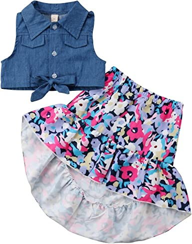 2Pcs Toddler Baby Kids Demin Dress Girls Party Tutu Dress+Vest Tops Outfits Set