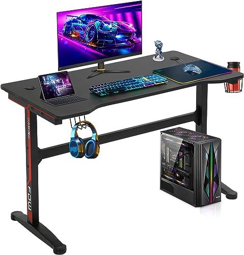 Computer Desk,Gaming Desk 45.2″/47.2 Student PC Desk Office Desk Writing Desk Extra Large Modern Ergonomic Racing Style Table Workstation Carbon Fiber Cup Holder Headphone Hook 47.2 inche