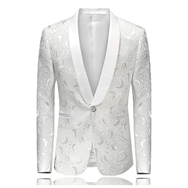 58e09e9eee13 Amazon.com: Men's Hipster Rose Floral Suit Jacket Fit Single Breasted One  Button Tuxedo Blazer Jacket Stage Costumes 4XL: Clothing