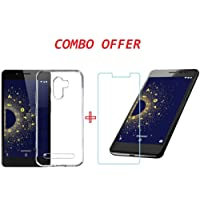 22NINE Combo Of Flexible Ultra Slim Premium Silicone Transparent Soft Back Cover With 2.5D HD Tempered Glass Screen Protector for 10.or G / Tenor G