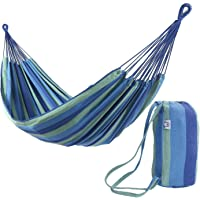 OnCloud Extra Long and Wide Double Hammock for Travel Camping Backyard, Porch, Outdoor or Indoor Use, Carrying Pouch Included Blue/Green Stripes