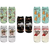 Women Funny Cute 3D Print Animal Pattern Girls Novelty Silly Ankle No Show Socks Value Pack Perfect Gift