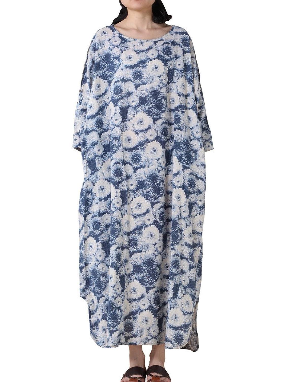 MatchLife Damen Vintage 3/4-Arm Orchideen Lange Kleider