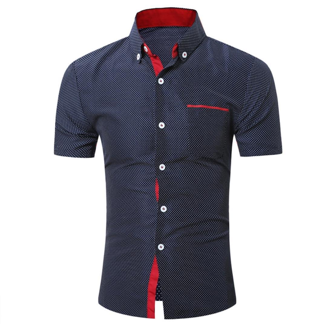 Transer Men's Dot Print Slim Fit Stretch Short Sleeve Shirt Tops with Pocket Transer