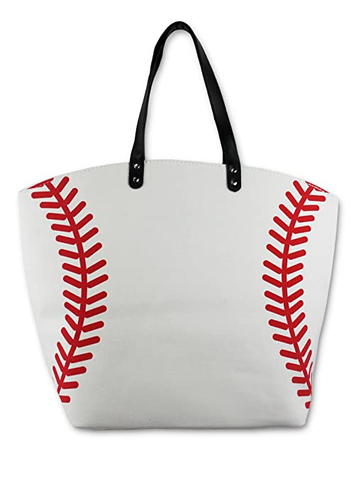 d649043a63 Image Unavailable. Image not available for. Color  Knitpopshop Baseball  Canvas Tote Bag Handbag Large Oversized Mom