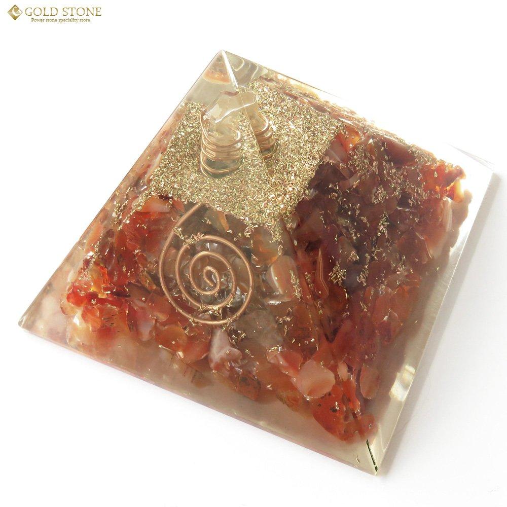 カーネリアン使用 水晶単結晶入り オルゴナイト ピラミッド 大人気 スピリチュアル グッズ 幅約65-70mm前後 B074P6ZWXXカーネリアン