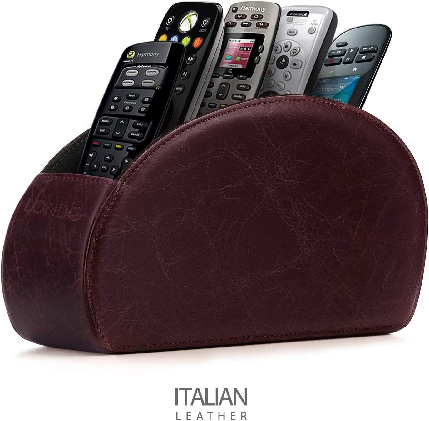 Londo Remote Controller Holder Organizer Store DVD Blu-ray TV Roku or Apple TV Remotes - Italian Genuine Leather with Suede Lining Living or Bedroom Storage – Damson