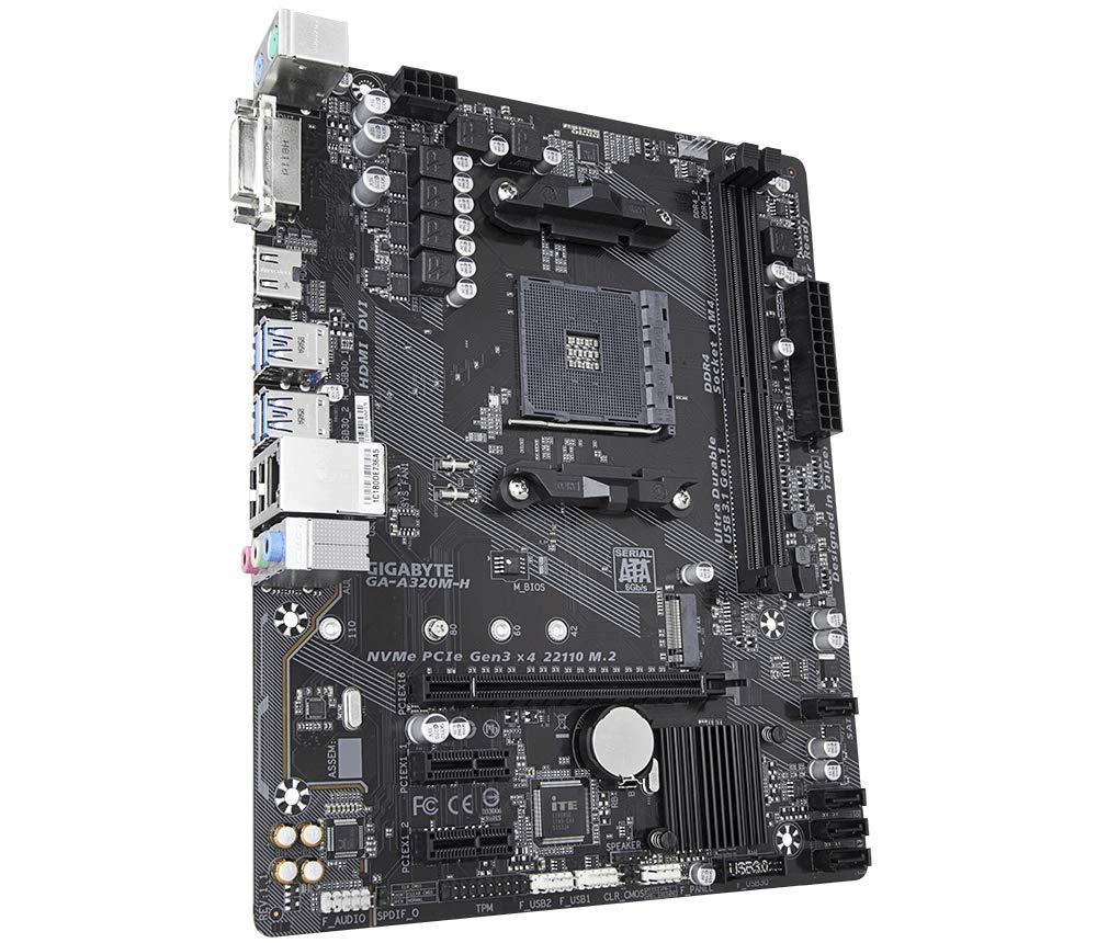 Image result for GIGABYTE AMD A320M-H AM4 Ryzen Motherboard MicroATX / 2xPCI-Express 1x /1xPCI-Express 16x / 1xM.2 / Memory Slots 2 / 1xDVI-D Port / 1xHDMI Port / 2 xUSB 2.0 / 4xUSB 3.1 / 2xPS/2