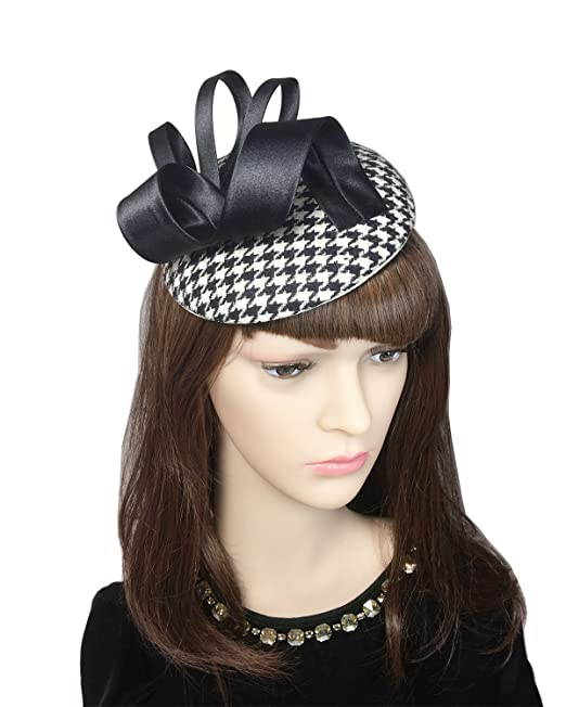 0a4e6818ab823 YSJOY Vintage Style Black White Houndstooth Grid Sinamay Bowknot Derby Hat  Hair Clip Fascinator Hat Wedding