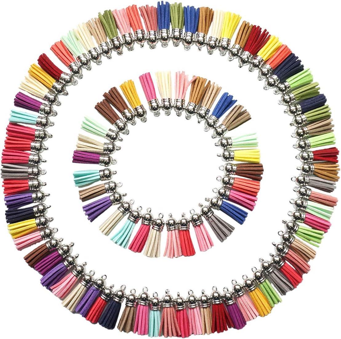 levylisa 100pcs 25 Colors Suede Tassels Pendant,Colorful Tassel with Silver Cap,Fringe Tassels,Faux Leather Tassels Charms,Suede Leather Tassel Charm,Necklace Pendant