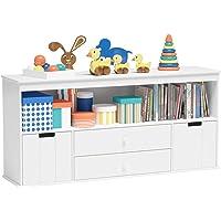 Timy Toy Storage Organizer with 2 Drawers, Wooden Toy Organizer Bins, Kids Bookshelf for Reading, Storing, Playing…