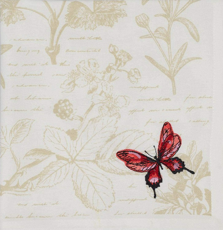 Design Imports Botanical 13 x 19 Chrysanthemum Dobby Stripe Placemats Red