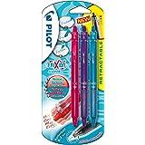 Pilot FriXion Clicker - Bolígrafo roller de gel de tinta borrable (3 unidades), color rosa, morado y azul