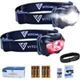 VITCHELO Headlamp White Flashlight - Red Safety Light - 6 Light Modes - Super Bright IPX6 Waterproof Adjustable Head Light -