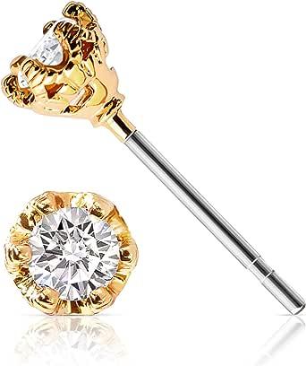 Dainty Stud Earrings for Women | 14k Gold Dipped, 3mm Cubic Zirconia Gold Earrings | Celebrity Approved, Hypoallergenic Earrings for Sensitive Ears | CZ Gold Earrings