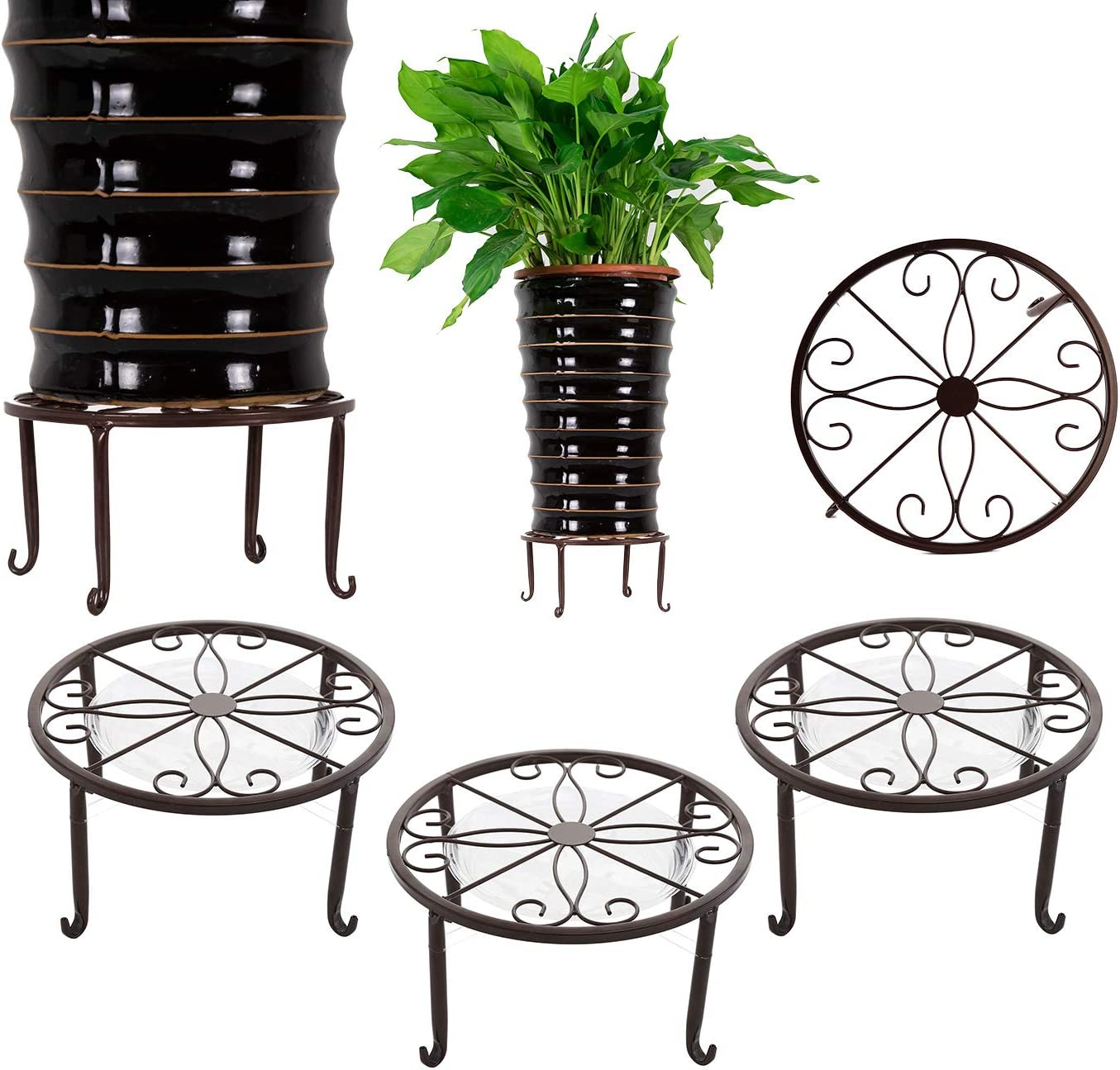 3 Pack Metal Potted Plant Stands