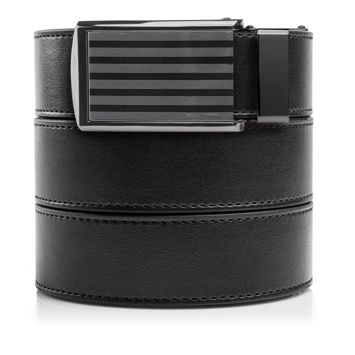 SlideBelts Men's Vegan Leather Belt without Holes - Bar Striped Buckle/Black Leather (Trim-to-fit: Up to 48'' Waist)