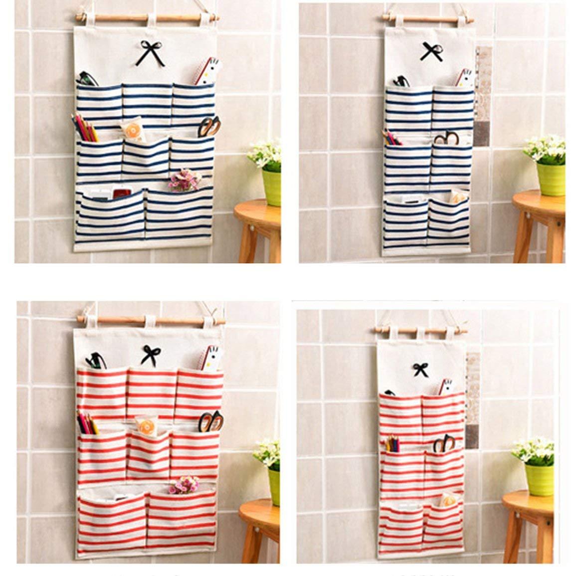 Creative mur Hanging sac de rangement en tissu coton lin suspendu Organisateurs multi poches d/ébris sac de rangement pour Salle de bain
