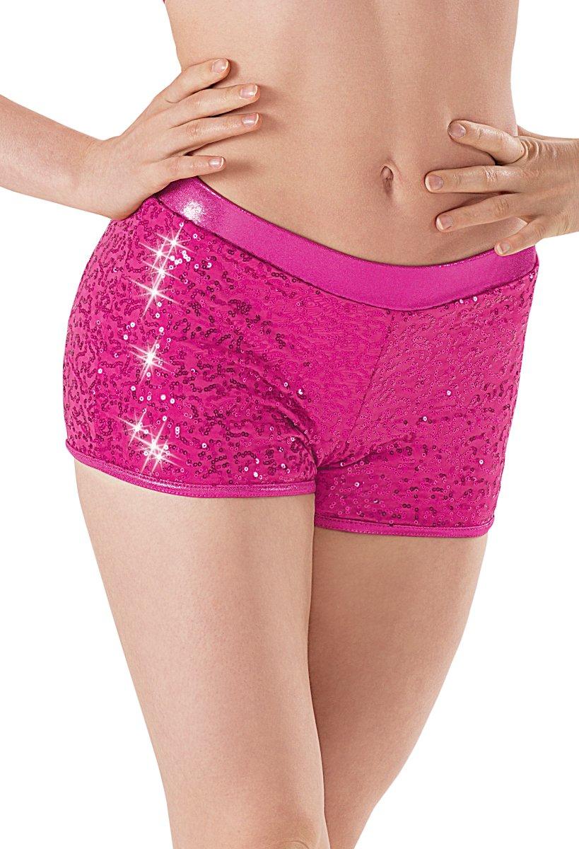 Balera Dance Shorts With Sequins and Metallic Waistband Fuchsia Adult Large by Balera