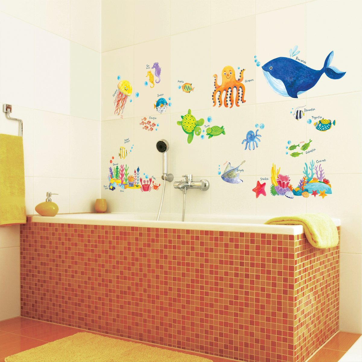 Decowall dw 1311 under the sea kids wall stickers wall decals peel decowall dw 1311 under the sea kids wall stickers wall decals peel and stick removable wall stickers for kids nursery bedroom living room amazon amipublicfo Gallery