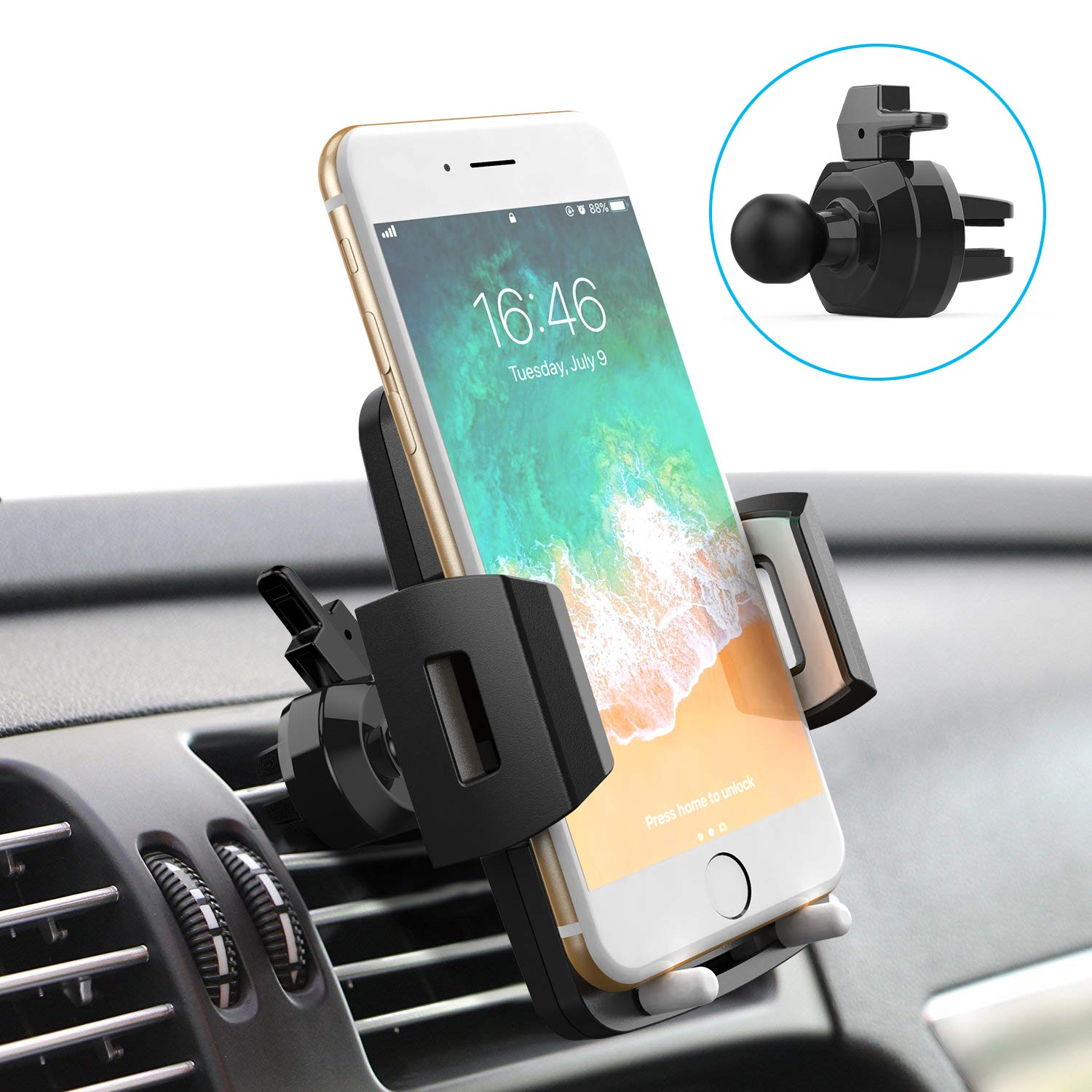 Quntis Cell Phone Holder for Car, Universal Car Holder Phone Mount, Car Air Vent Stand Cradle 360 Rotation Compatible with iPhone Xs XR X 8 7 6 Plus Samsung S10 S9 S8 Plus LG Motorola Pixel Nexus by Quntis