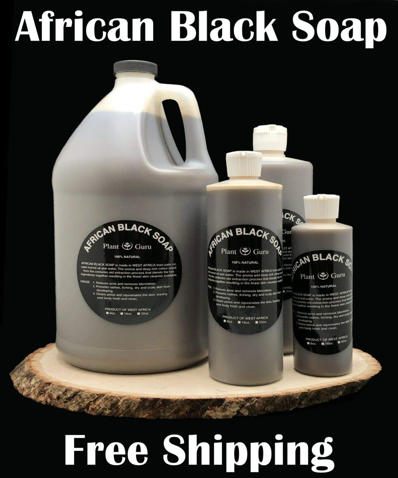 African Black Soap Liquid Gallon 100% Raw Pure Natural From Ghana, Acne Treatment, Aids Against Eczema & Psoriasis, Dry Skin, Scar and Dark spot Removal, Pimples and Blackhead, Face & Body Wash by Plant Guru (Image #2)