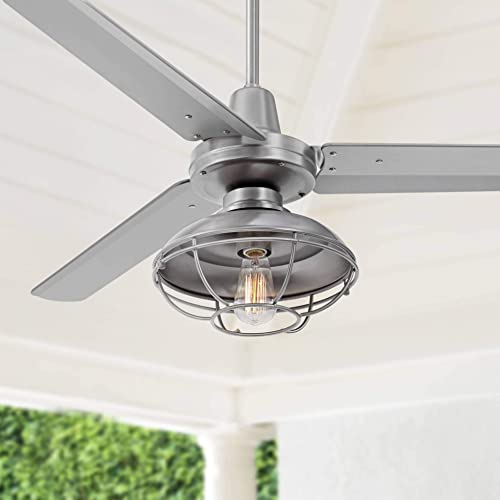 52 Plaza Franklin Park Industrial Outdoor Ceiling Fan with Light LED Remote Control Brushed Nickel Silver Blades Damp Rated for Patio Porch – Casa Vieja