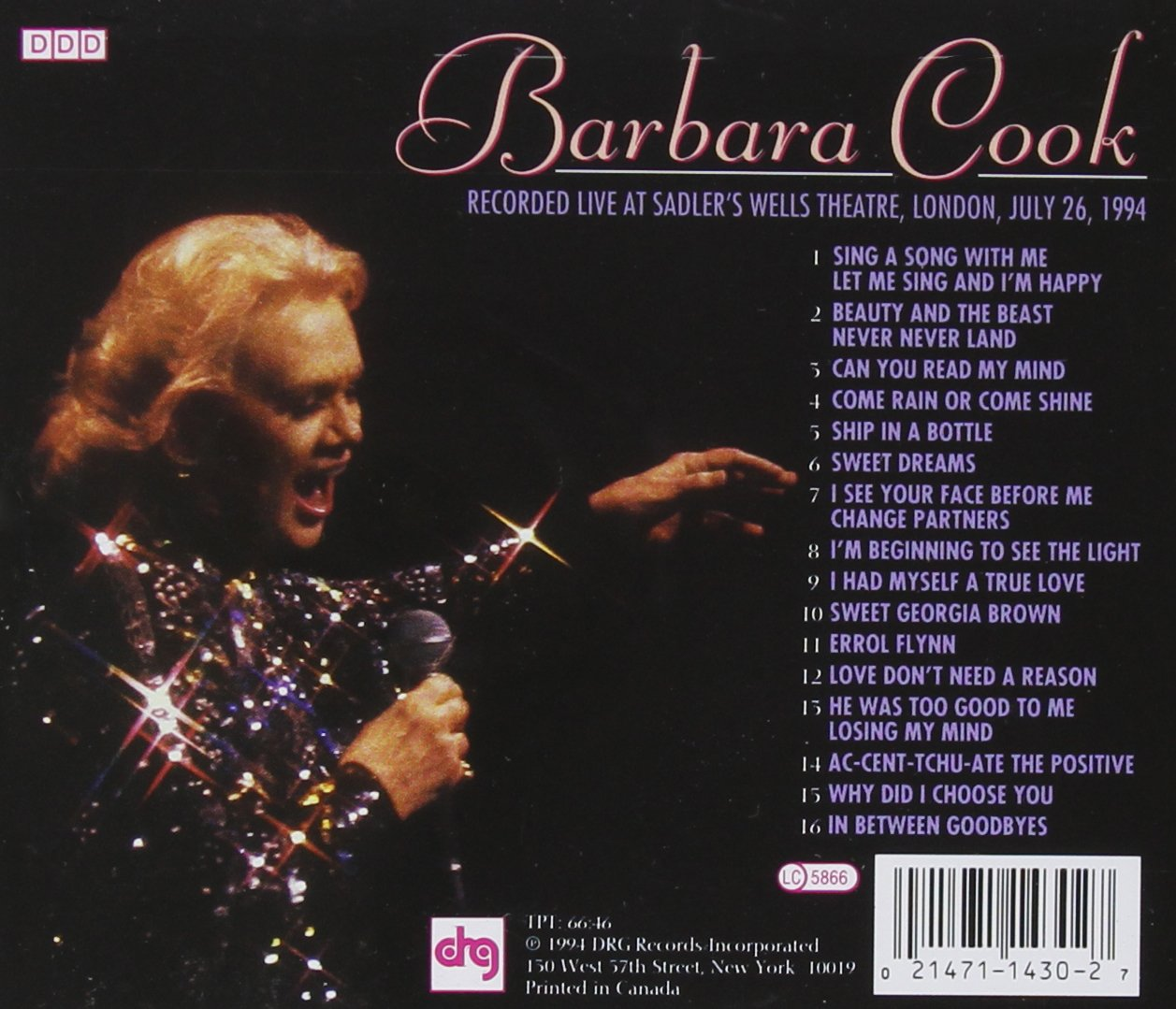 Barbara Cook - Live from London by Drg