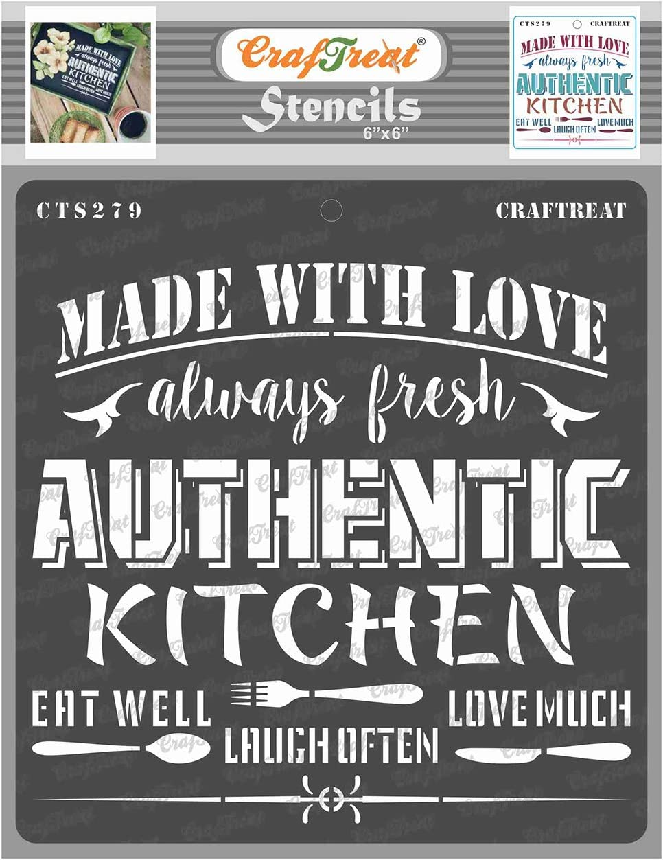 CrafTreat Kitchen Stencils for Painting on Wood, Canvas, Paper, Fabric, Floor, Wall and Tile - Authentic Kitchen - 6x6 Inches - Reusable DIY Art and Craft Stencils - Stencils Kitchen Decor