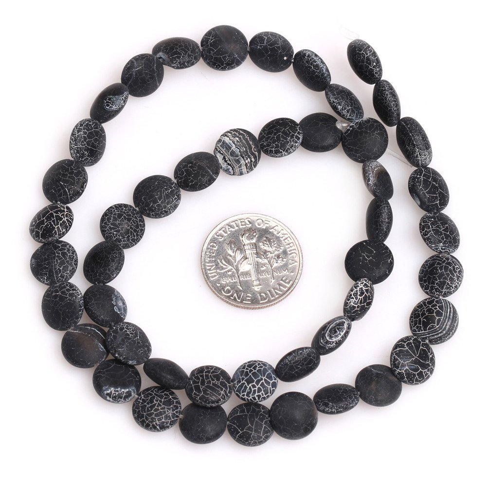 SHGbeads Black Agate Gemstone Loose Beads Natural Matte Frosted Coin 10mm Crystal Energy Stone Healing Power for Jewellery Making 15