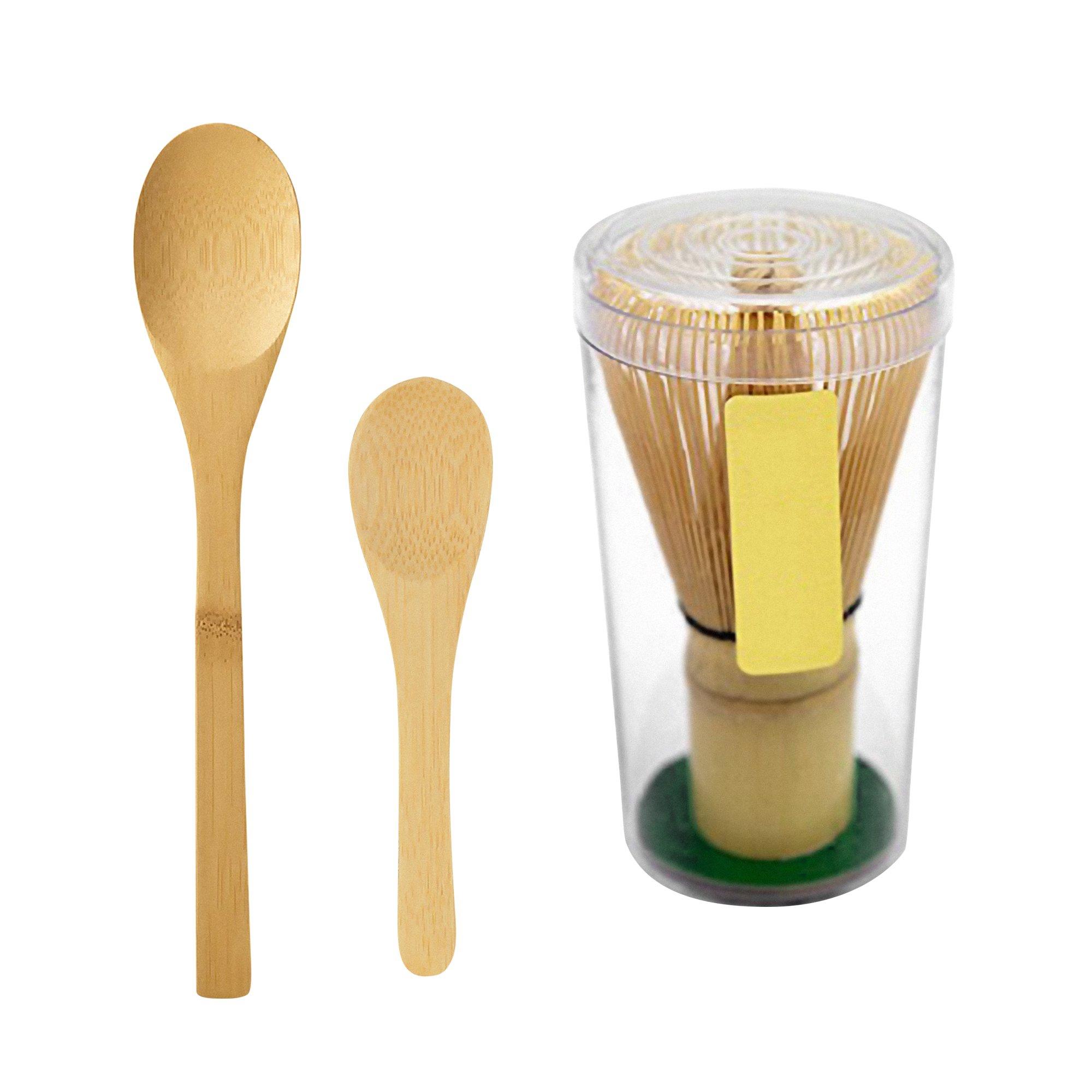 Premier Quality Natural Bamboo Matcha Tea Whisk w/ Japanese Green Tea Stirrer Spoon Set