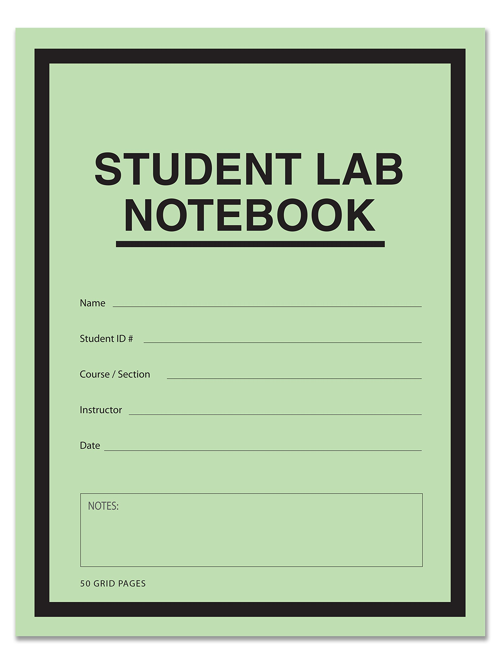 BookFactory® Student Lab Notebook (Scientific Grid Format) 8.5'' x 11'' - 50 Pages (25 Pack) Saddle-Stitched - Green Cover (LAB-050-7GSS (Lab Notebook) by BookFactory