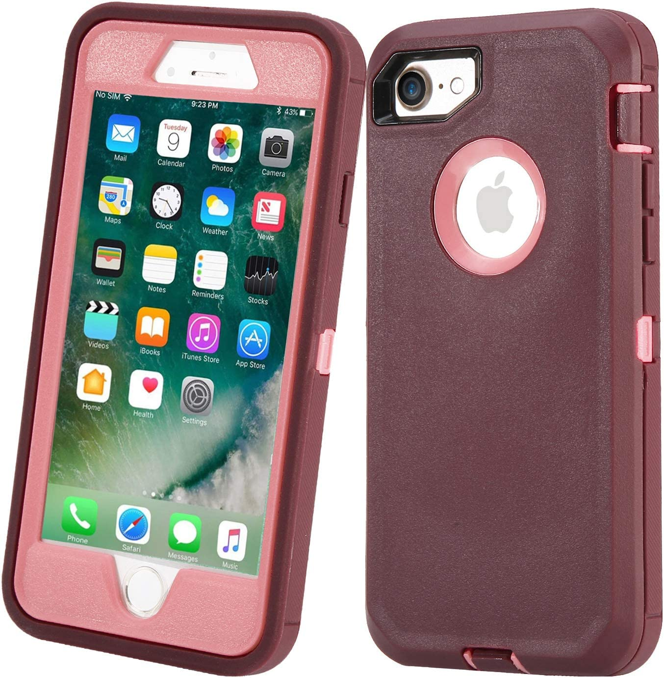 Stroson Case for iPhone 7 / iPhone 8, Heavy Duty Shockproof 3 in 1 Hybrid Bumper Support Wireless Charger Protective Cover for Apple iPhone 7/8 (Wine+Pink)
