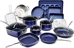 Granite Stone Pots and Pans Set, 20 Piece Complete Cookware + Bakeware Set with Ultra Nonstick 100% PFOA Free Coating–Includes Frying Pans, Saucepans, Stock Pots, Steamers, Cookie Sheets & Baking Pans